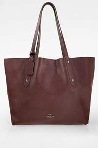 Coach Grey-Burgundy City Reversible Leather Tote Bag
