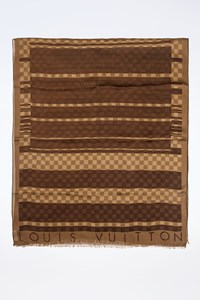Louis Vuitton Brown-Beige Damier Ebene Silk Scarf