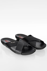 Prada Sport Black Criss Cross Slides / Size: 8.5 (41.5) - Fit: True to size