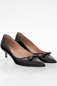 Valentino Black Patent Leather Cut Out Kitten Heel Pumps / Size: 37 - Fit: True to size