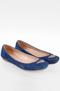 Emporio Armani Electric Blue Suede Ballerinas Flat / Size: 40 - Fit: True to size