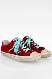 Golden Goose Burgundy V Star 2 Velvet Sneakers / Size: 39 - Fit: 38.5