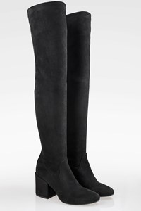 Elena Iachi Black Suede Knee High Boots / Size: 38 - Fit: 38.5