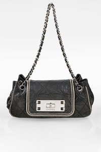 Chanel Anthracite Quilted Leather East/West Accordion Flap Shoulder Bag