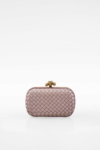 Bottega Veneta Dusty Pink/Lilac Satin Intrecciato Mini Knot Clutch