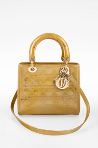 Dior Gold Lady Dior Patent Leather Tote Bag