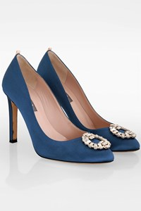 Sarah Jessica Parker Angelina Blue Satin Pumps / Size: 38 - Fit: True to size