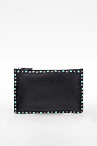 Valentino Garavani Black Leather Clutch with Studs