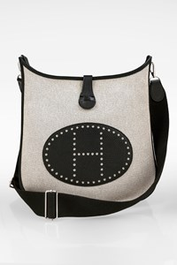 Hermès Black Clemence Leather and Toile Canvas Evelyne III 29 Bag