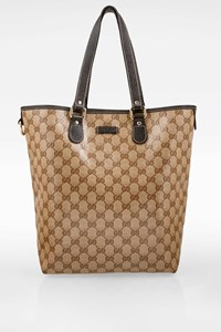 Gucci Beige GG Coated Canvas Tote Bag