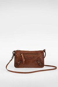 Balenciaga Tan Lambskin Leather Ticket Mini Crossbody Bag