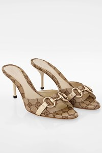 Gucci Beige Ebony GG Canvas Horsebit Hollywoοd Mules / Size: 39C - Fit: True to size