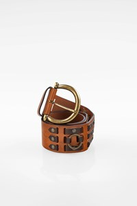 Dolce & Gabbana Tan Leather Belt with Decorative Rings