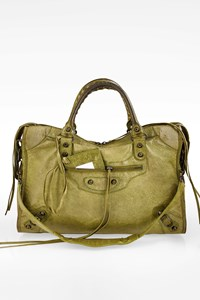 Balenciaga Light Green Motorcycle City Chevre Leather Shoulder Bag