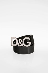 D&G Mens Black Leather Belt with Logo Buckle