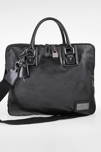 D&G Black Leather Men's Bag with Six Pockets