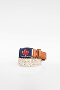 Dsquared2 Men's Beige Rope and Tan Leather Belt