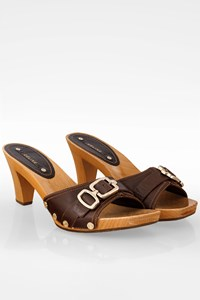 Céline Brown Leather Clogs with Wooden Heels / Size: 40 - Fit: True to size