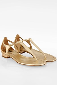 D&G Gold Leather T-Strap Sandals / Size: 40 - Fit: True to size