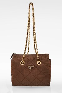 Prada Brown Quilted Nylon Shoulder Bag with Chain