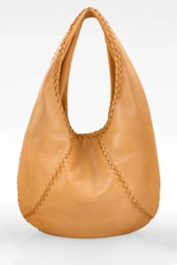 Bottega Veneta Beige Cervo Leather Large Baseball Hobo Bag