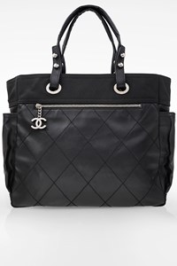 Chanel Black Biarritz Canvas and Leather Tote Bag