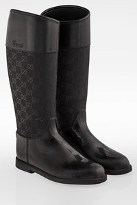 Gucci Black Monogram Wellington Boots / Size: 37 - Fit: True to size