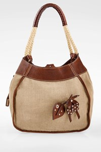 Miu Miu Beige Canvas and Leather Shoulder Bag