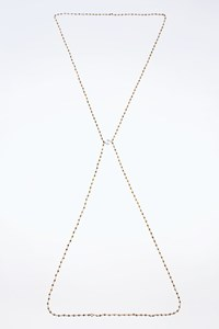 Angelo Di Spirito Rosa Corpus Body Chain-Necklace from Pyrite and White Faux Pearl