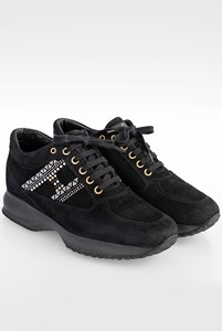 Hogan Black Suede Interactive Sneakers with Crystals and Studs / Size: 36 - Fit: 37