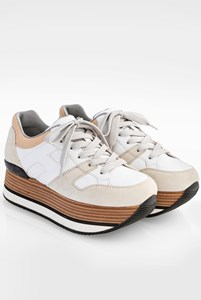 Hogan H222 Allaciato White Leather Flatforms / Size: 37 - Fit: True to size
