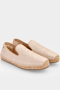 Ugg Sandrinne Beige-Gold Metallic Leather Espadrilles / Size: 39 - Fit: 38.5