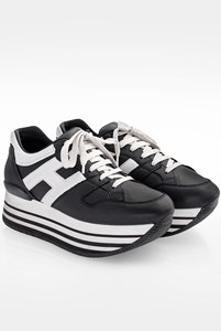 Hogan H222 Allaciato Black-White Leather Flatforms / Size: 37.5 - Fit: True to size