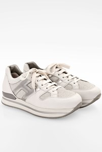 Hogan H222 Allaciato Tessuto White Leather Sneakers / Size: 39 - Fit: True to size