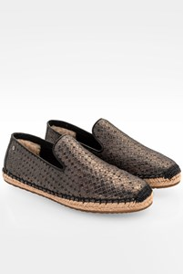 Ugg Sandrinne Bronze-Black Metallic Leather Espadrilles / Size: 39 - Fit: 38.5