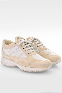 Hogan Ecru Suede Interactive Sneakers with Silver Metallic Canvas / Size: 39 - Fit: 40