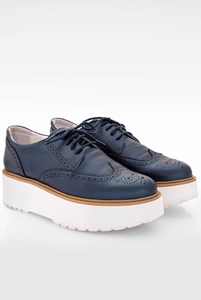 Hogan Blue Metallic Leather Platform Brogues / Size: 40 - Fit: True to size