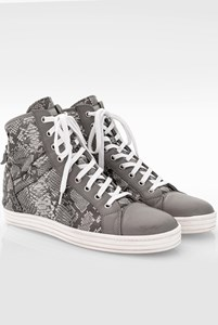 Hogan Rebel Grey Snakeskin Leather High-Top Sneakers / Size: 40 - Fit: True to size