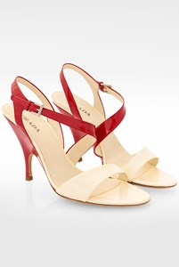 Prada Ecru-Red Patent Leather Sandals / Size: 41 - Fit: 40