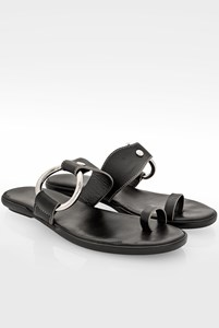 Hogan Black Leather Flat Sandals with Silver Hoop / Size: 40.5 - Fit: 40