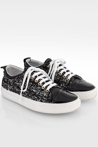 Lanvin Black and White Tweed Low-Τop Sneakers / Size: ? - Fit: 36.5