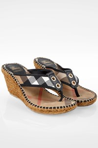 Burberry Beige Check Printed Platform Mules / Size: 39- Fit: 38.5