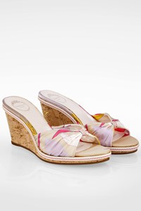 Emilio Pucci Multicolor Satin Mules with Cork Platform / Size: 38 - Fit: True to size