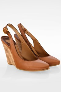Chloé Tan Leather Platform Slingbacks / Size: 40 - Fit: True to size