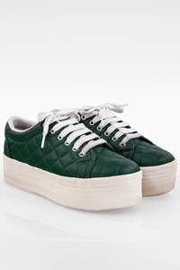 Jeffrey Campbell Forest Green Play Quilted Leather Platform Sneakers / Size: 38 - Fit: True to size