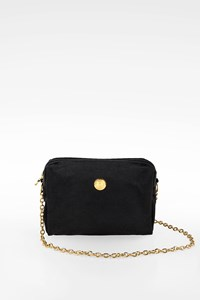 Fendi Black Vintage Mini Canvas Crossbody Chain Bag