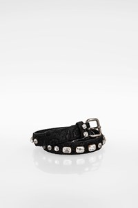 Miu Miu Black Canvas and Crystal Embellished Belt