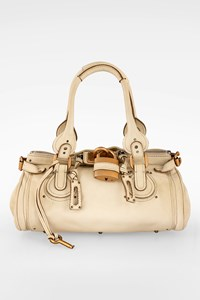 Chloé Ecru Paddington Leather Bag with Padlock