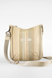 Longchamp Ecru Striped Canvas Crossbody Bag