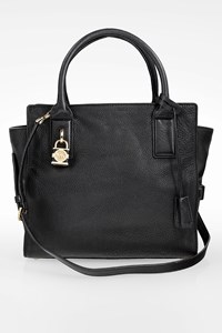MICHAEL Michael Kors Black Leather Tote Bag with Padlock